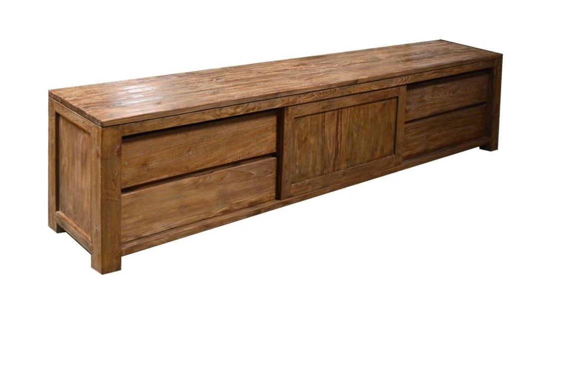 teak tv lowboard 250cm cougar lf038 teak m bel vollwaren. Black Bedroom Furniture Sets. Home Design Ideas