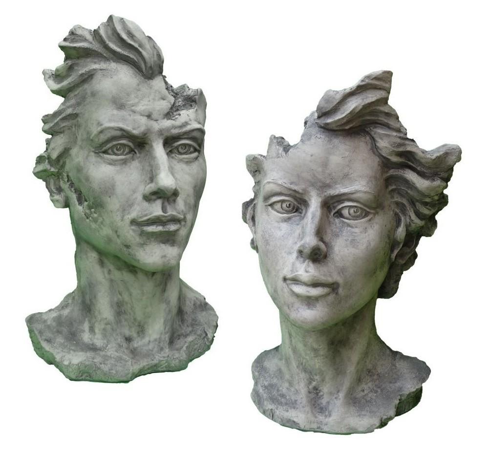 Skulptur SET Gesicht Mann und Frau 2 Steinguss
