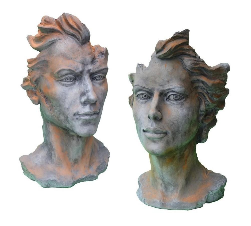 Skulptur SET Gesicht Mann und Frau 2 Rosteffekt