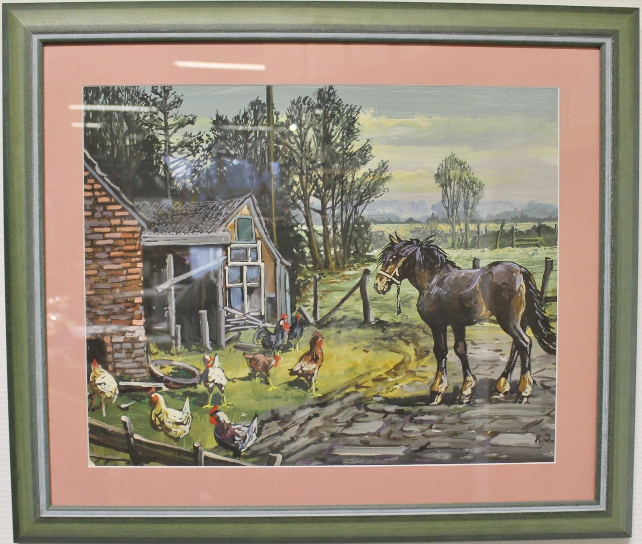 """Original Gemälde """"Ostfriesischer Hof mit Pferd und Hühnern"""" Karl Jänich"""