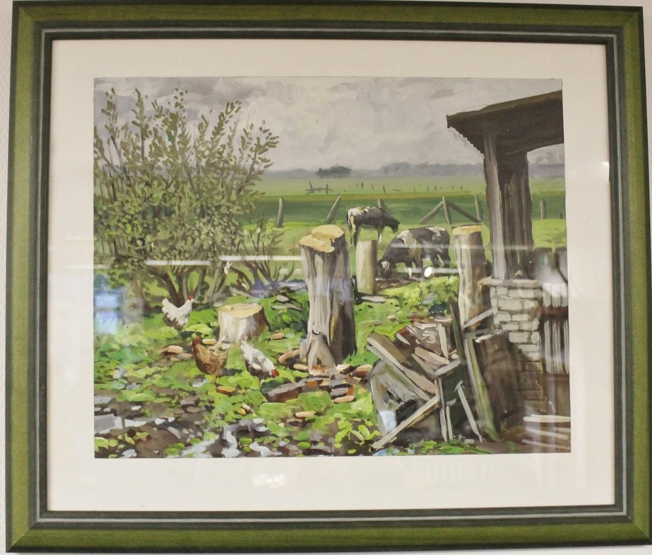 """Original Gemälde """"Ostfriesischer Hof mit Kühen und Hühnern"""" Karl Jänich"""
