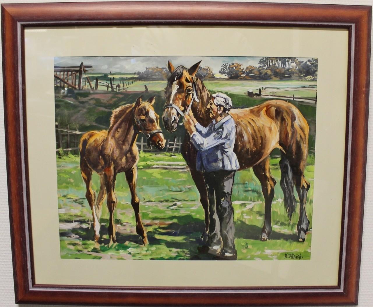 """Original Gemälde """"Ostfriesische Landschaft mit Pferd und Fohlen"""" Karl Jänich"""