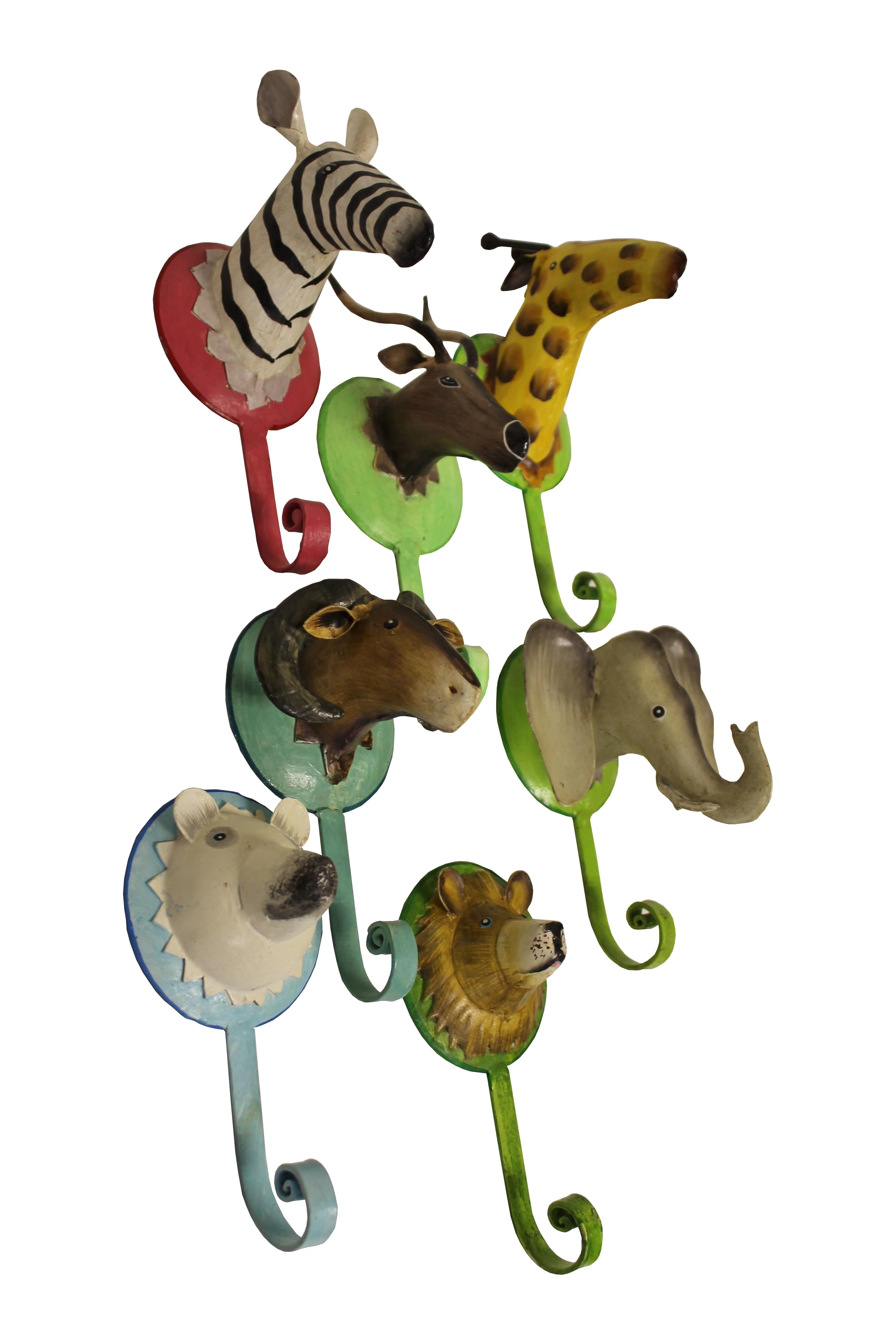 7er Set Garderobenhaken Trophäe Wildtiere