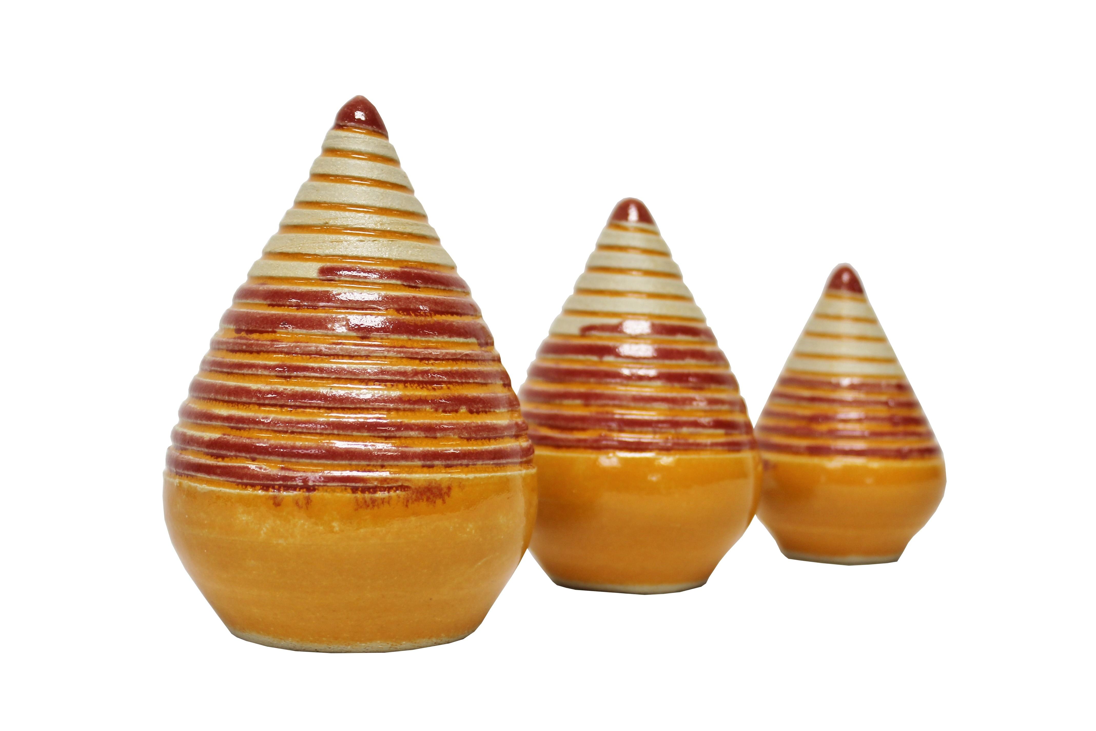 Keramik Rosenkugel Zapfen terracotta in 3 Größen