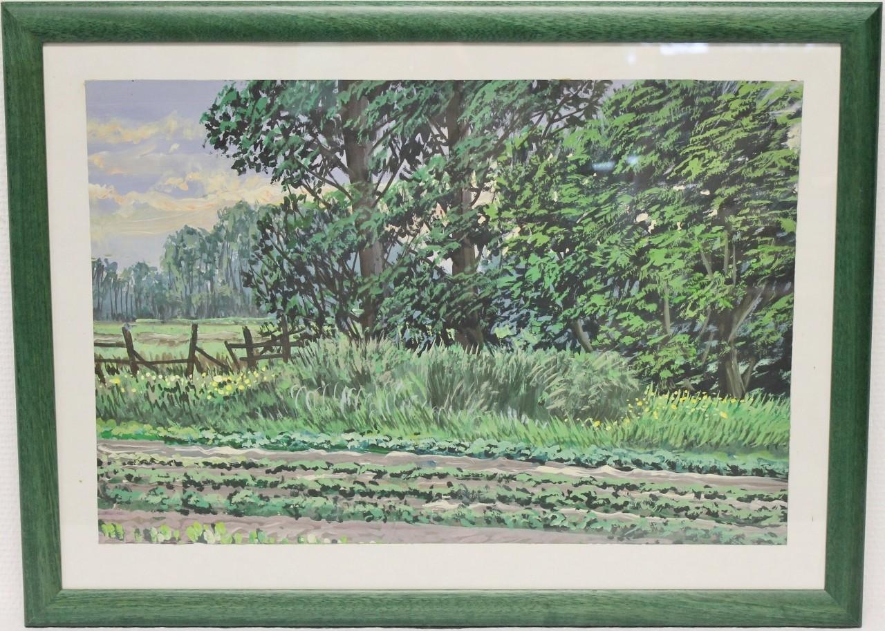 """Original Gemälde """"Ostfriesischer Feldweg mit Bäumen"""" Karl Jänich"""