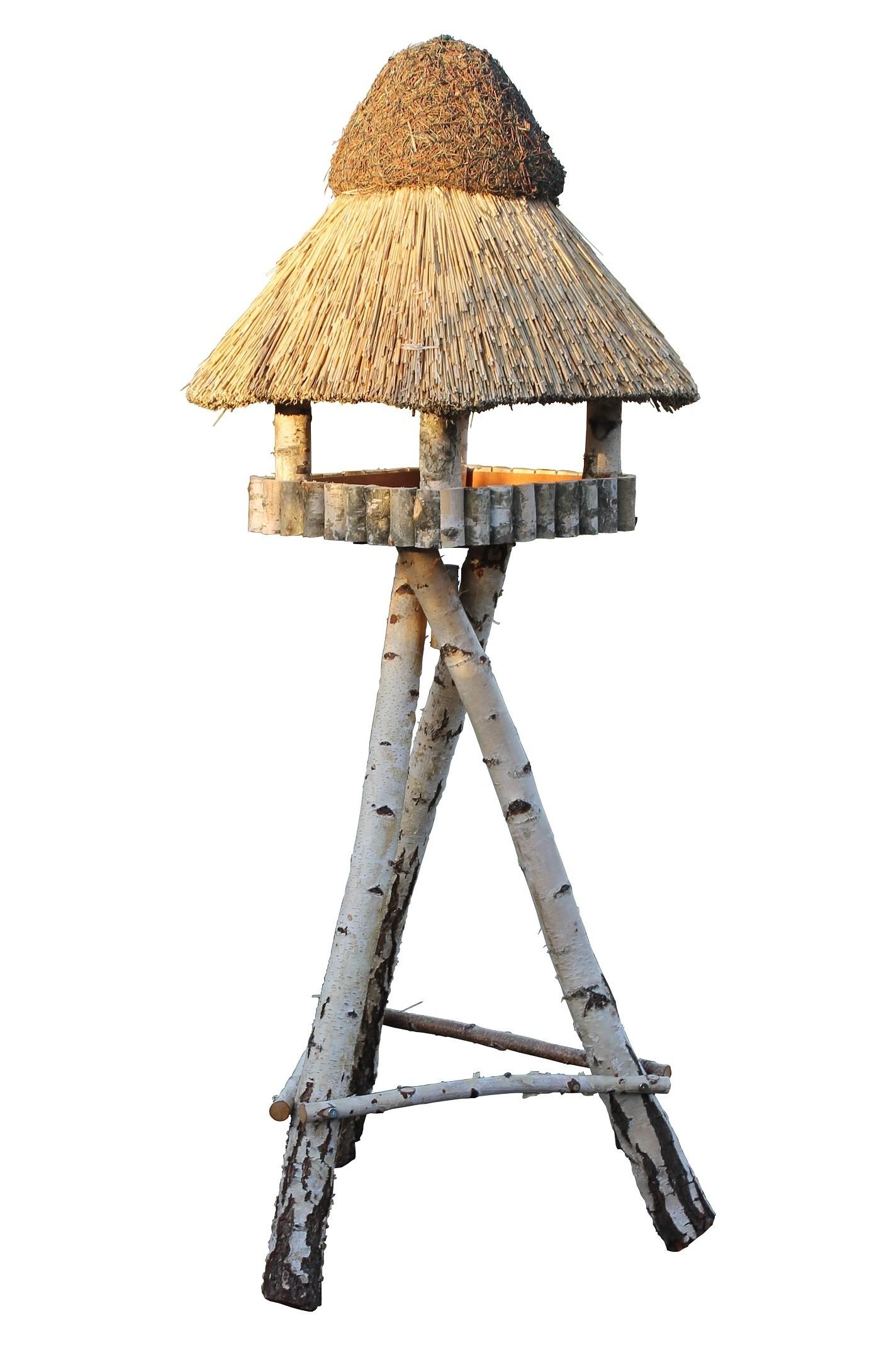Görzen Birke XL mit Ständer Reetdach Vogelhaus