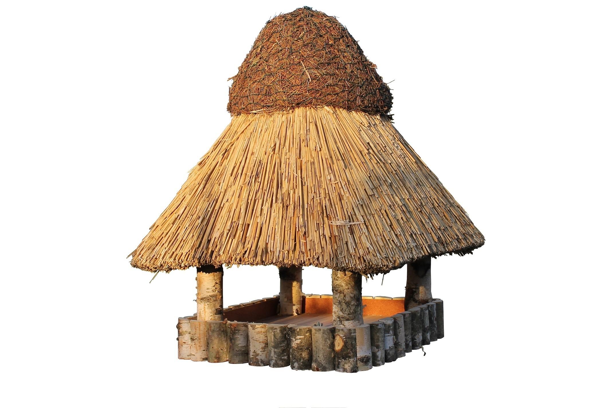 Görzen Birke XL ohne Ständer Reetdach Vogelhaus