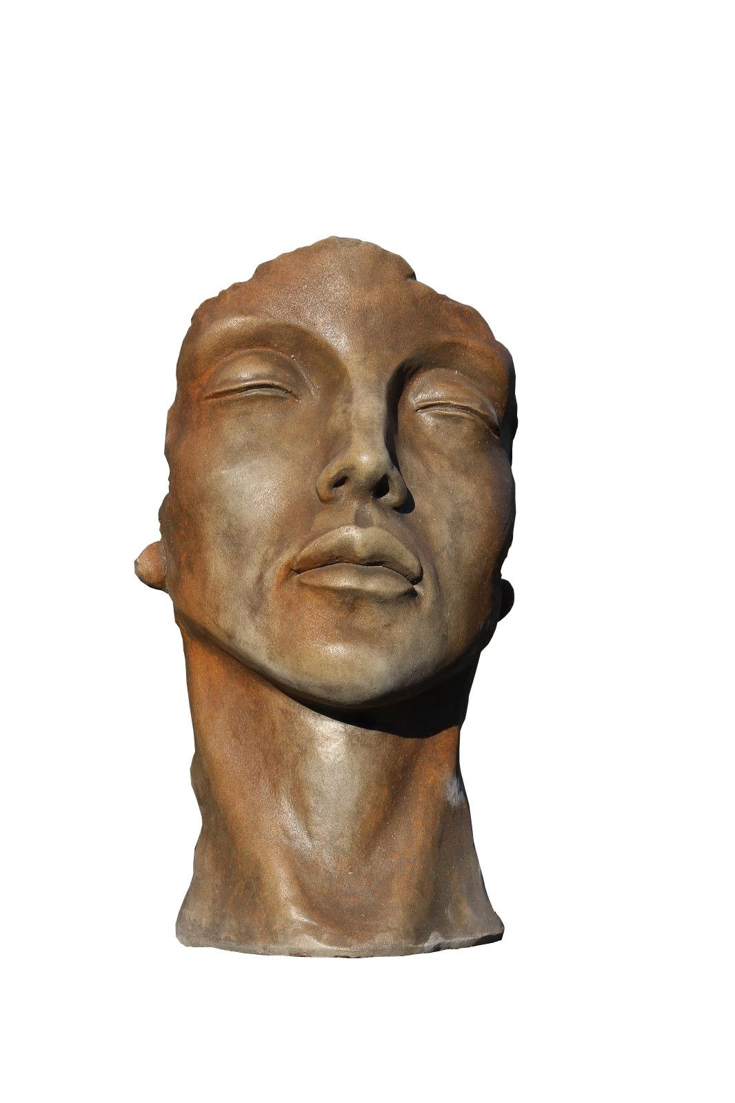 Skulptur Gesicht Frau klein Rosteffekt