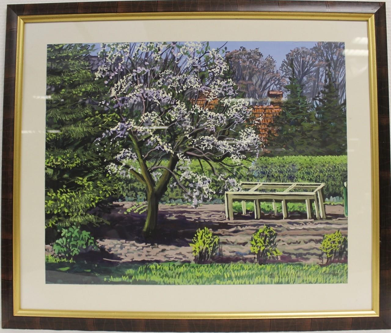 """Original Gemälde """"Ostfriesischer Blick in Nachbars Garten"""" Karl Jänich"""