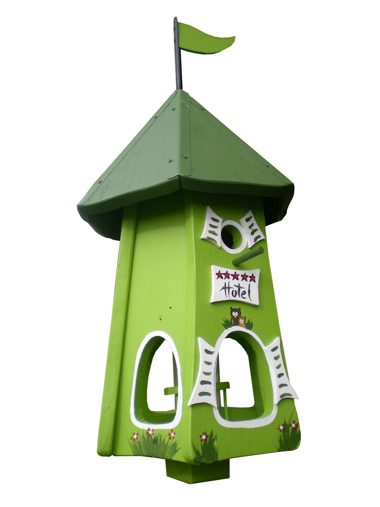 Turmhotel 5 Sterne Eulen grün von Die Vogelvilla