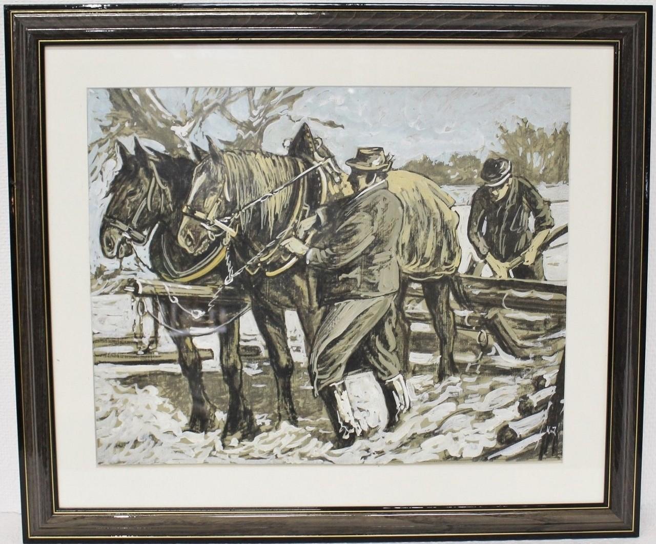 """Original Gemälde """"Pferdegespann"""" Karl Jänich"""