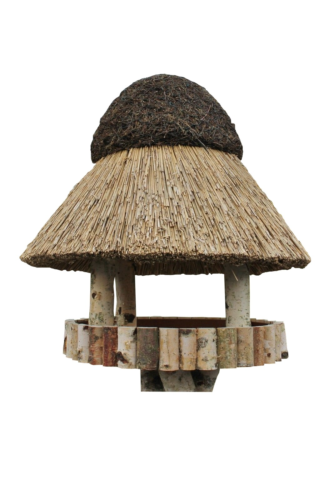 Masuren 50 Birke ohne Ständer Reetdach Vogelhaus