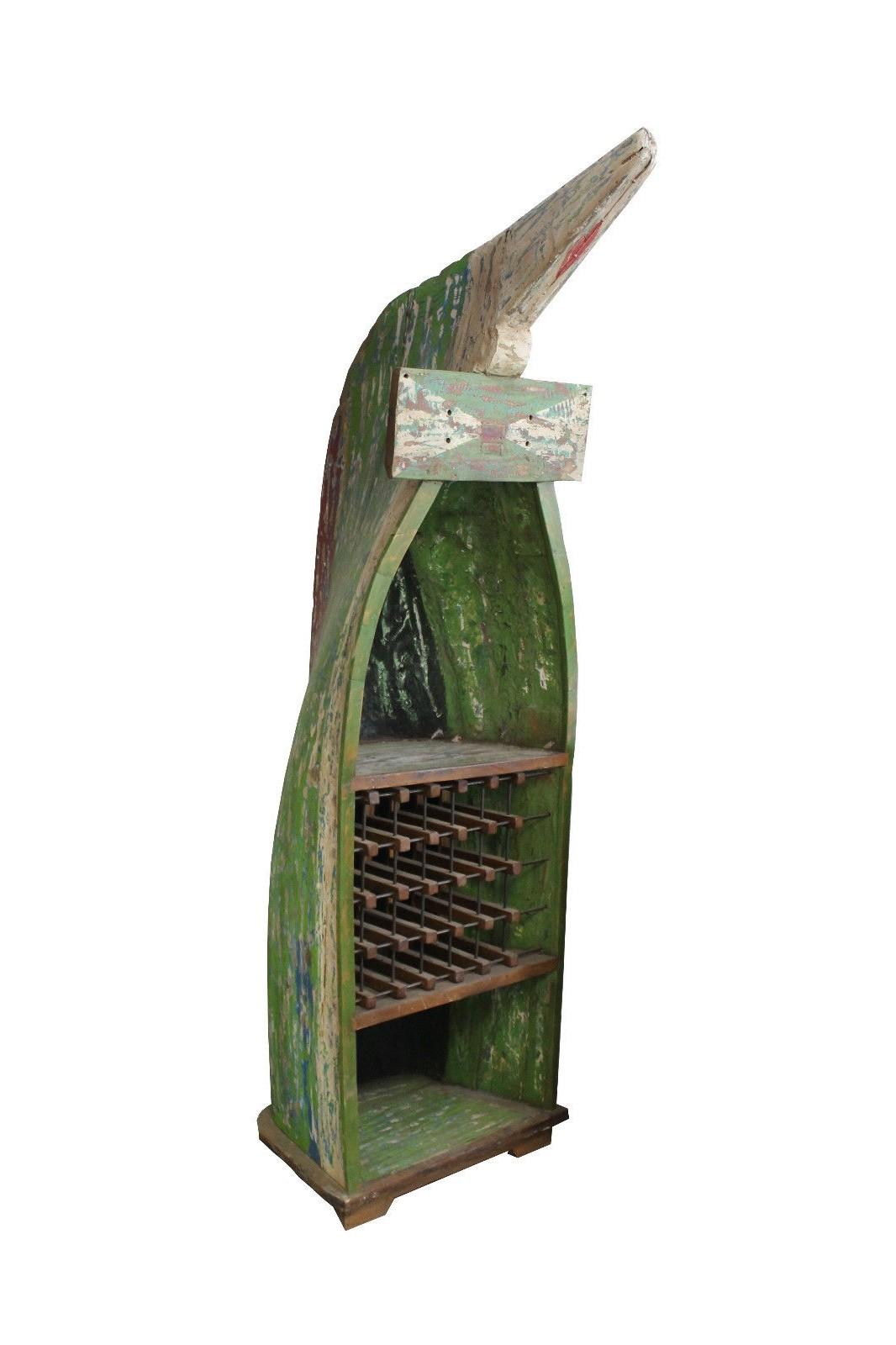 Teak Unikat Weinregal Boot grün weiss 255cm