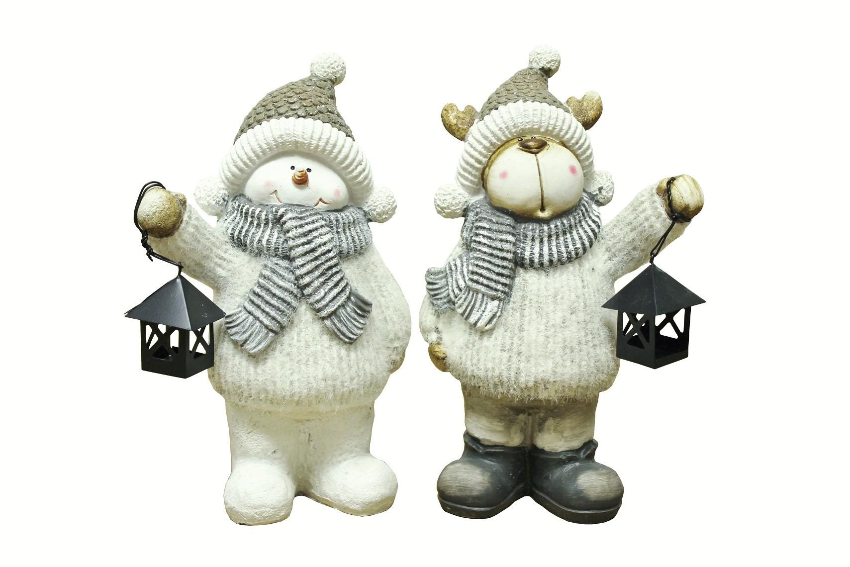 Deko Weihnachtsfiguren Schneemann und Rentier mit Laterne 2er Set