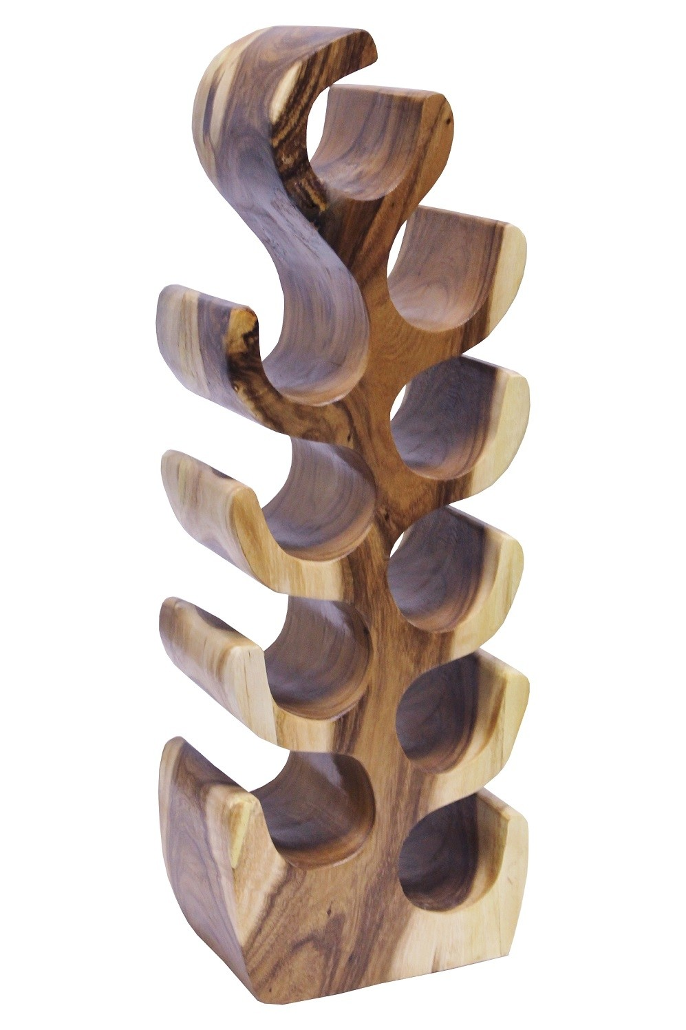 Weinregal Suar Unikat No.11 H80cm Massivholz Kaktusform