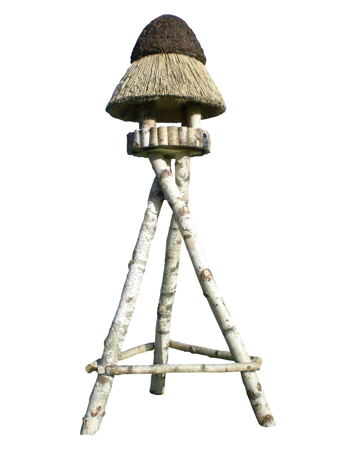 Pillau Birke mit Ständer Reetdach Vogelhaus