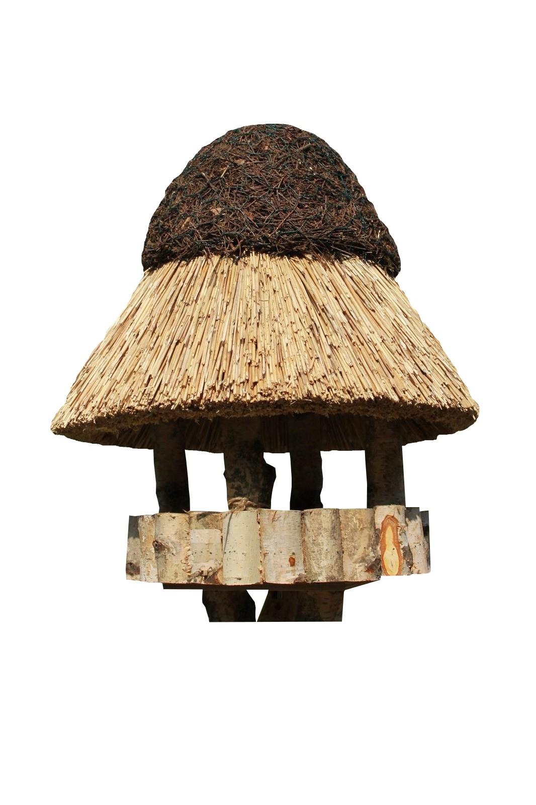 Pillau Birke ohne Ständer Reetdach Vogelhaus
