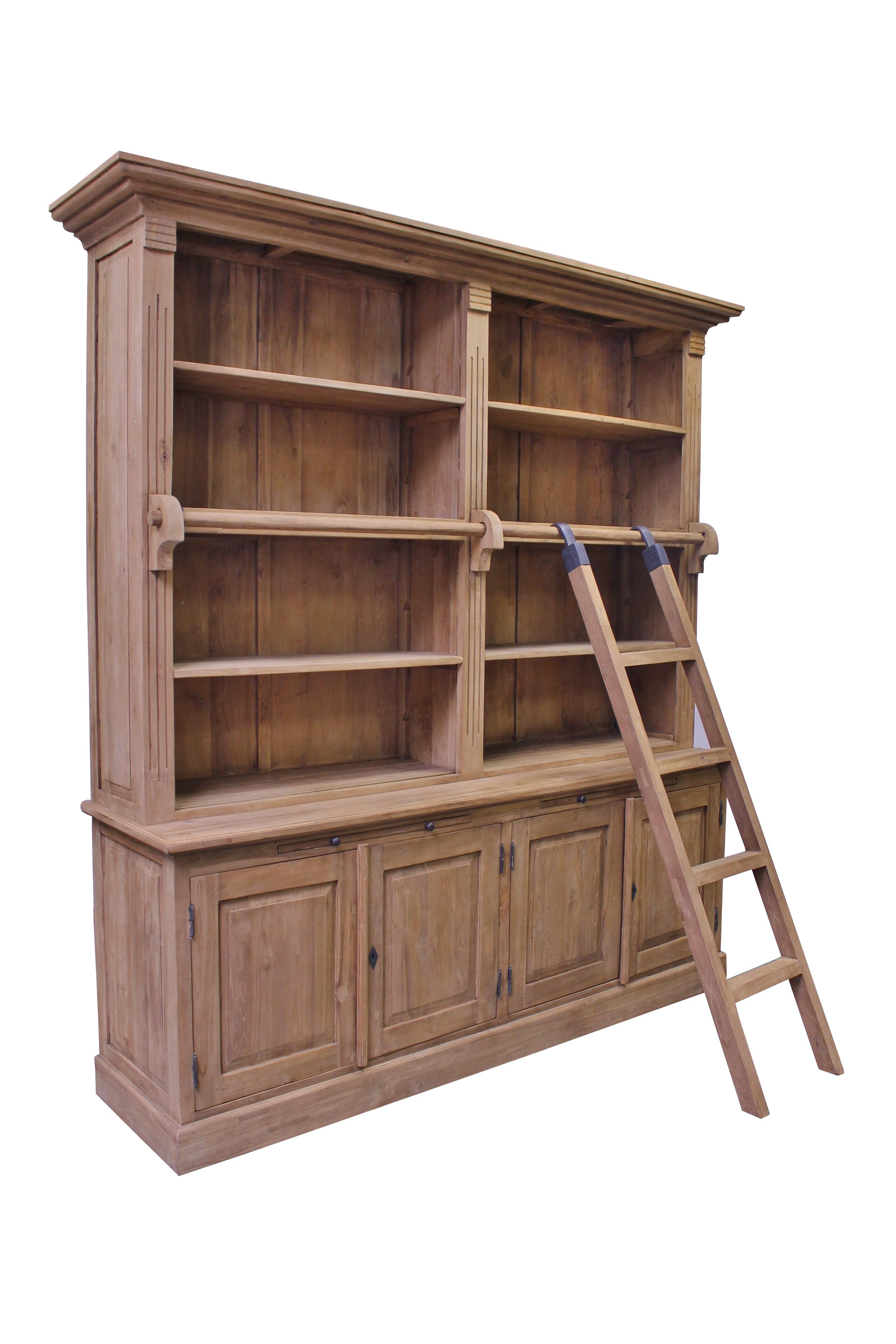 Teak Bibliothek Bücherregal SE38-2S Regal mit Leiter
