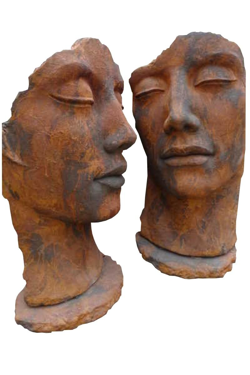 Skulptur SET Gesicht Mann und Frau OXID