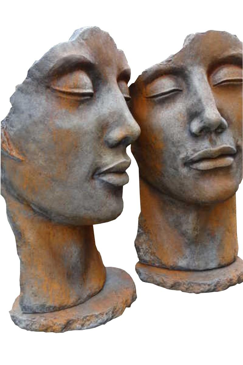 Skulptur SET Gesicht Mann und Frau Rosteffekt