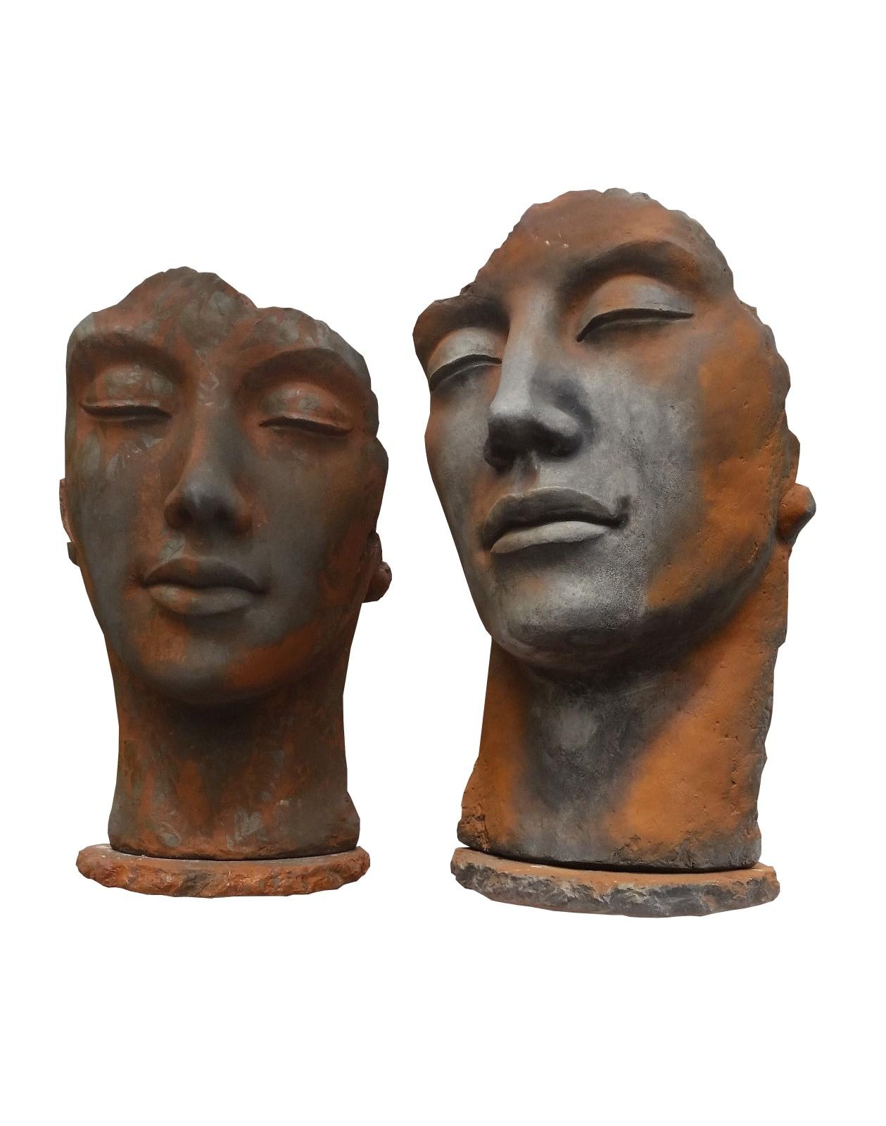 Skulptur SET Gesicht  MIX Rosteffekt und Oxid