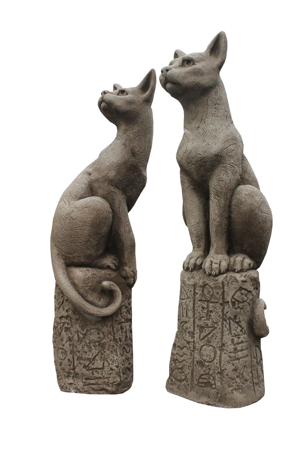 Skulptur SET Katze Bast Steinguss