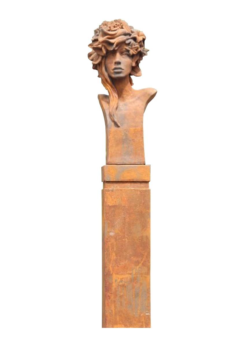 SET Skulptur Büste Art Deco Rosi Rosenmädchen + Sockel OXID