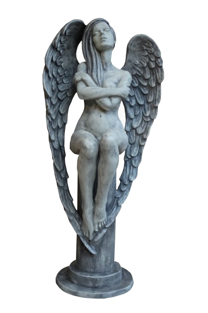 Skulptur Engel Eloa auf Sockel Steinguss