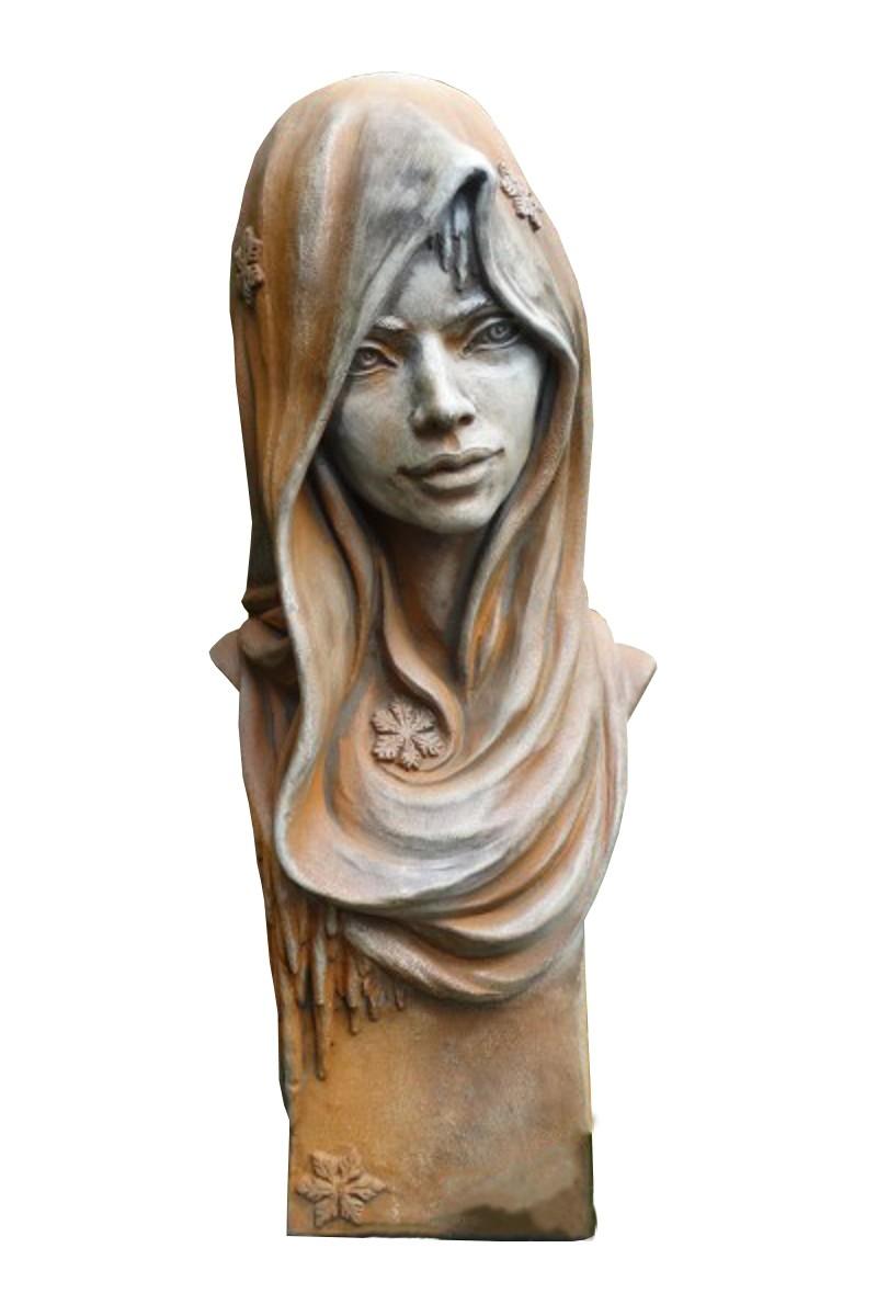 Skulptur Büste Winter Rosteffekt