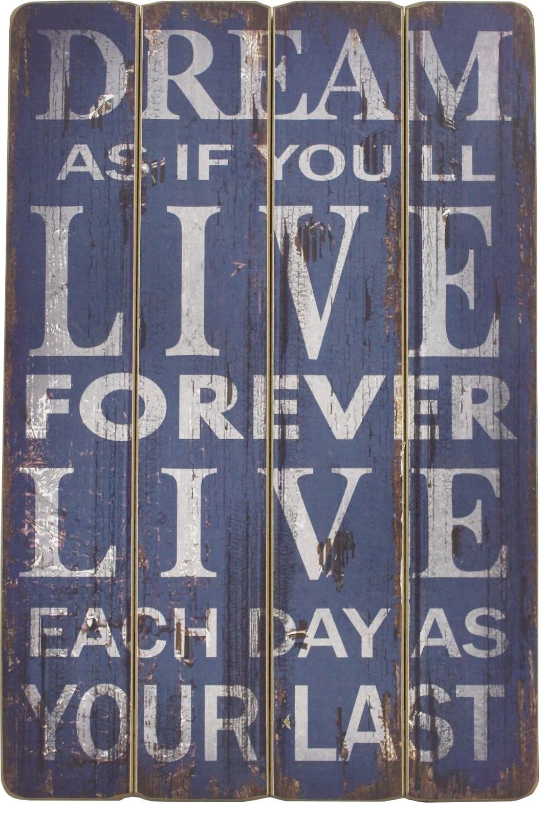 """Vintage Spruch Tafel """"DREAM AS IF YOU LL LIVE FOREVER"""" Deko Spruchschild Bild"""