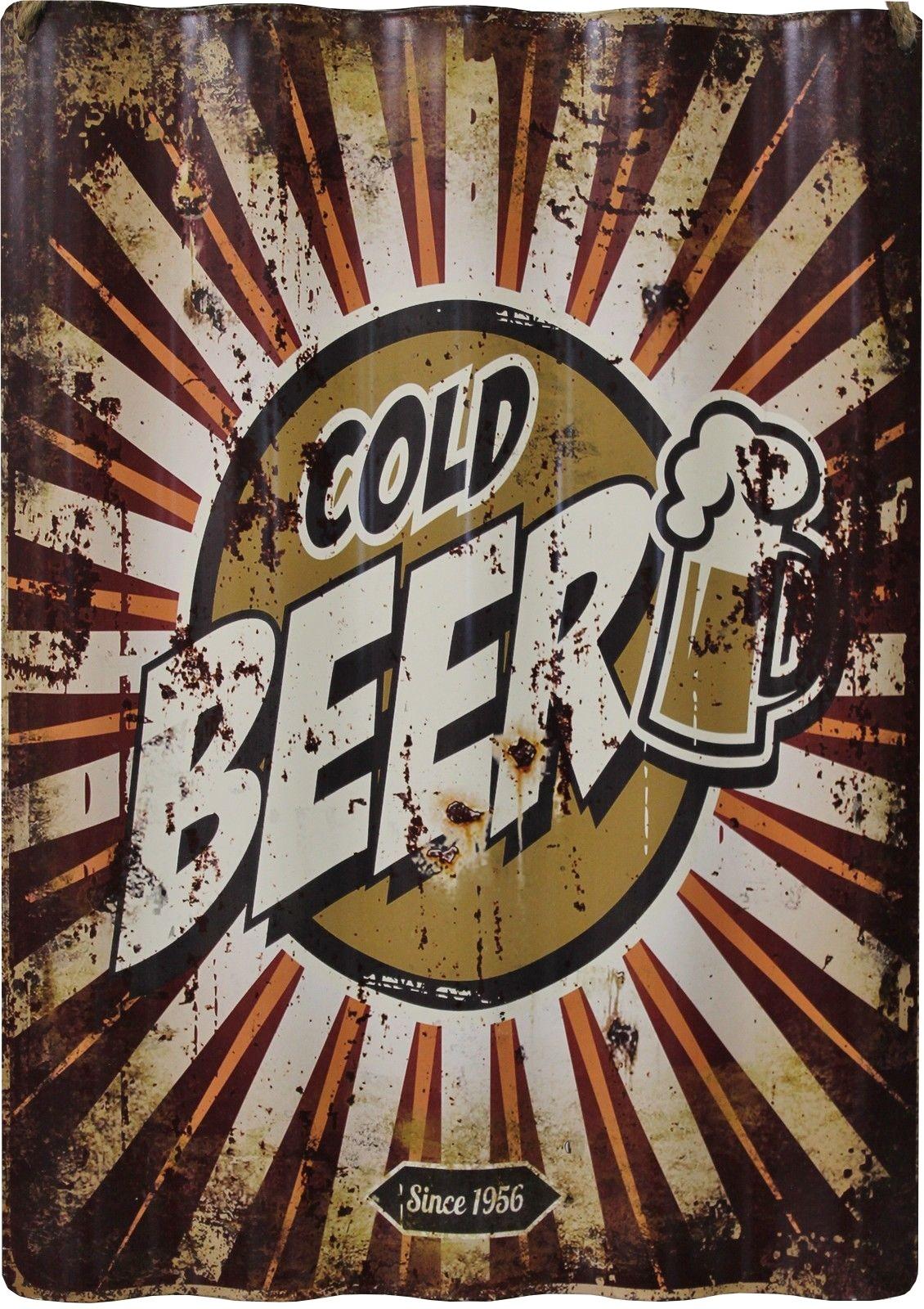Vintage Blechschild Cold Beer Since 1956 40x28 Wellenform Retro Wanddeko