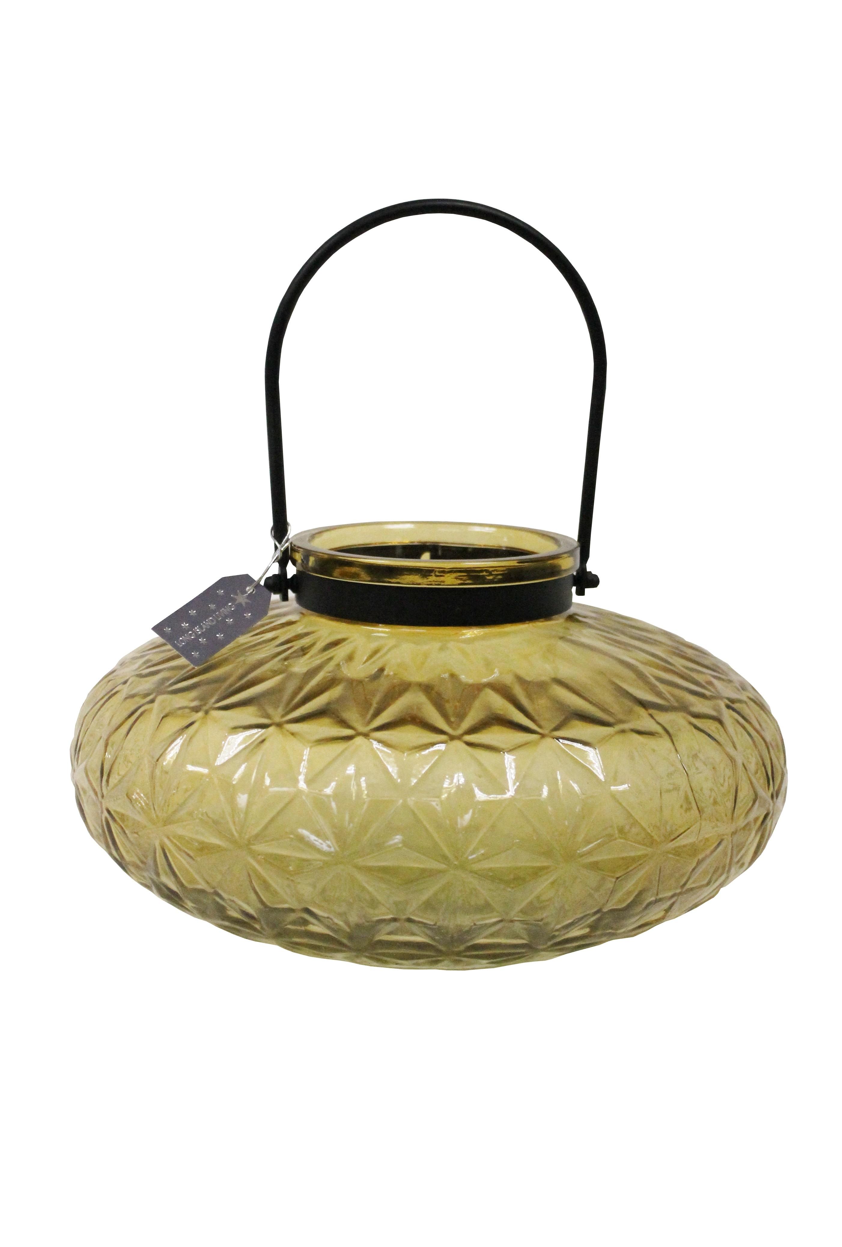 """Windlicht """"Joker"""" goldgelb Kerzenhalter Windlicht Dekoration Glas Teelicht"""