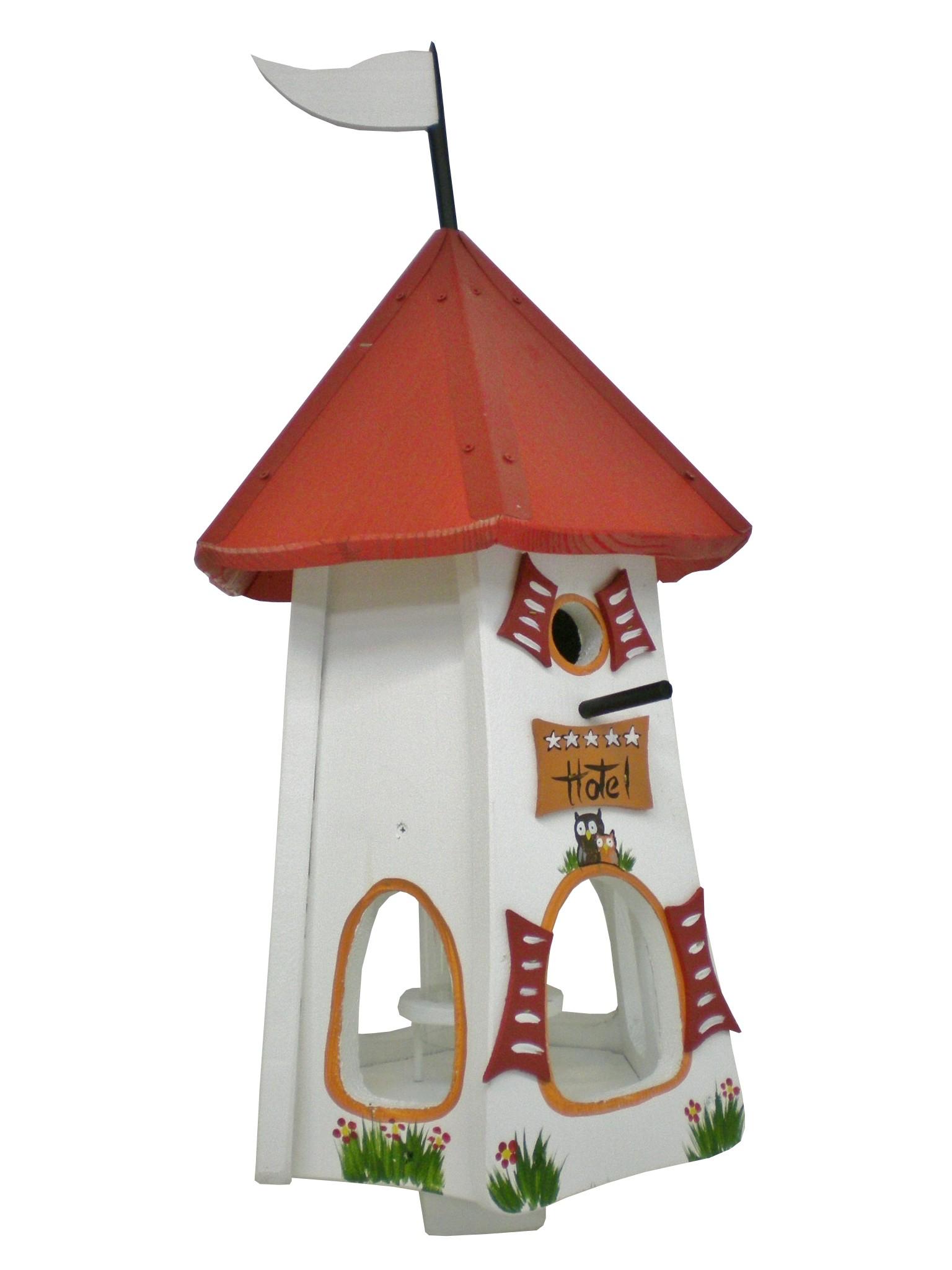Turmhotel 5 Sterne Eulen weiss von Die Vogelvilla