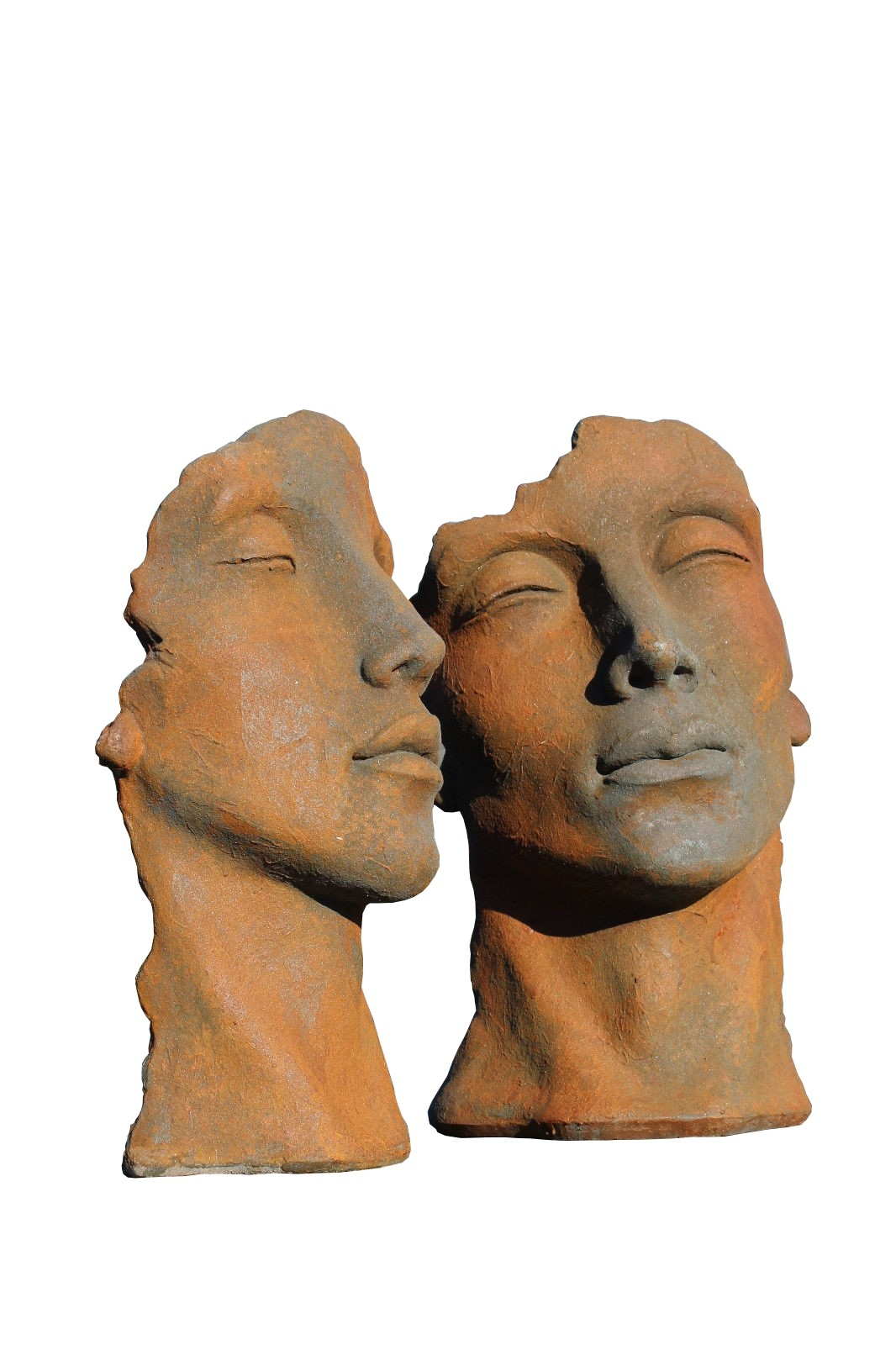 Skulptur SET Gesicht Mann und Frau klein Oxid