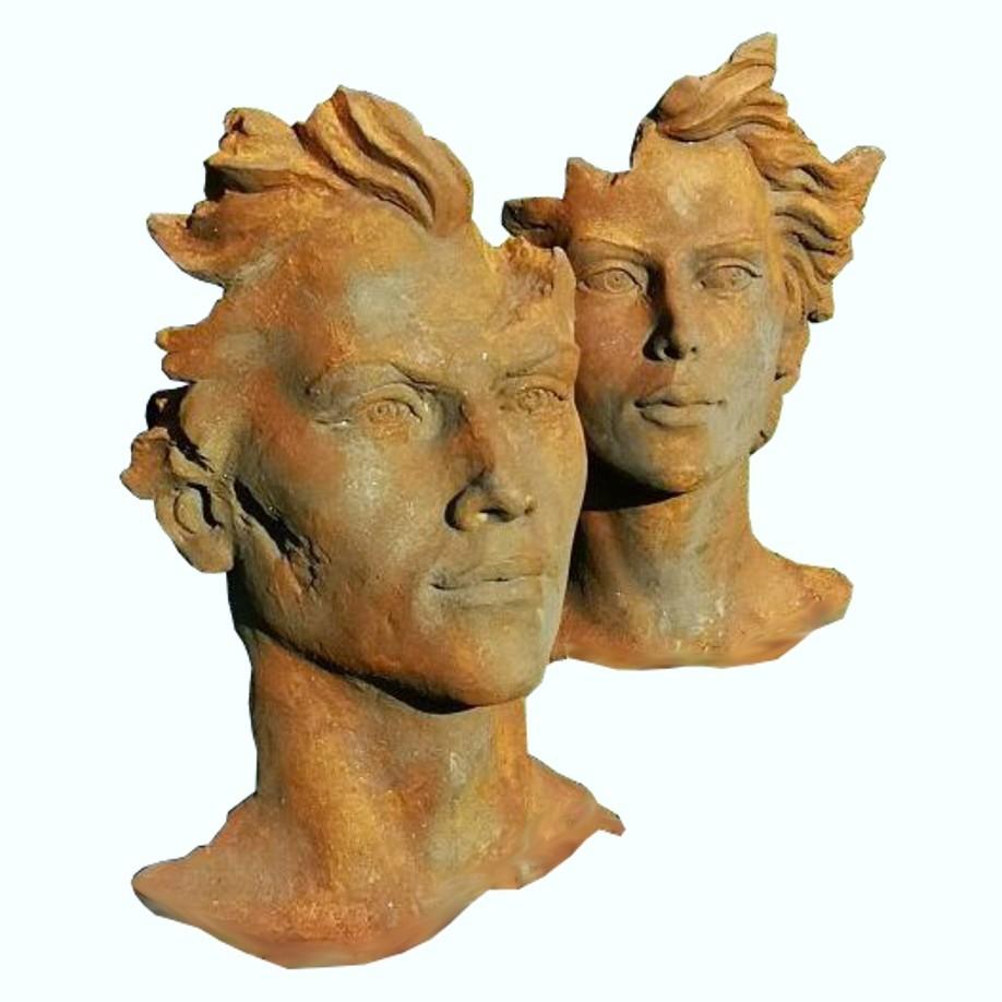 Skulptur SET Gesicht Mann und Frau 2 Oxid