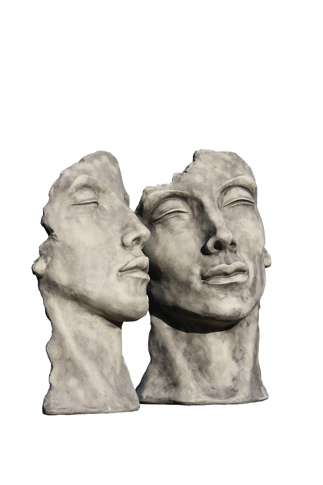 Skulptur SET Gesicht Mann und Frau klein Steinguss