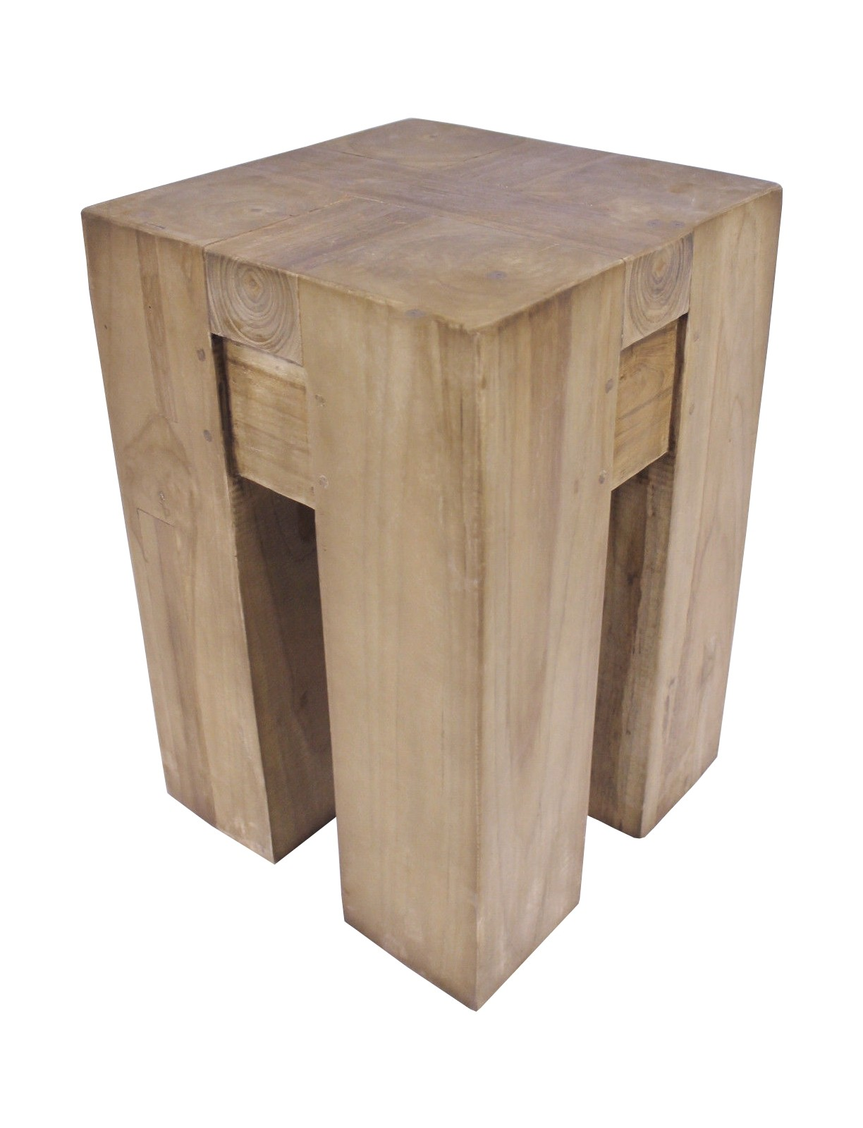 Teak Block Hocker Se30-3