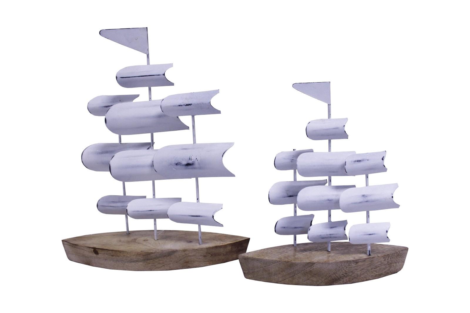 2er Set Teak Skulptur Segelschiff