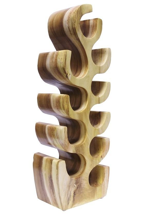 Weinregal Suar Unikat No.2 H80cm Massivholz Kaktusform