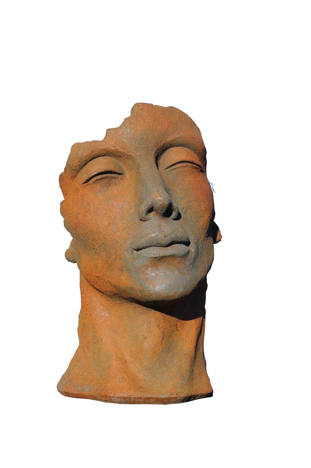 Skulptur Gesicht Mann klein Oxid