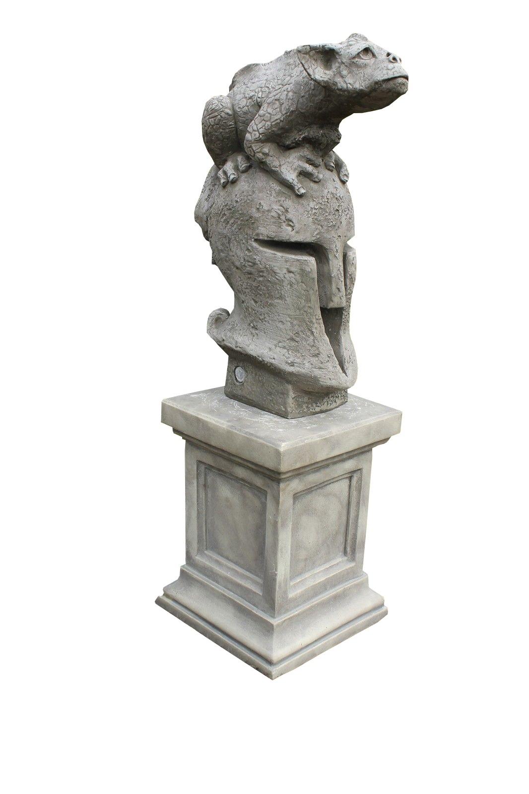 """Skulptur SET Drache """"Herbert"""" auf Sparta Helm + Sockel"""