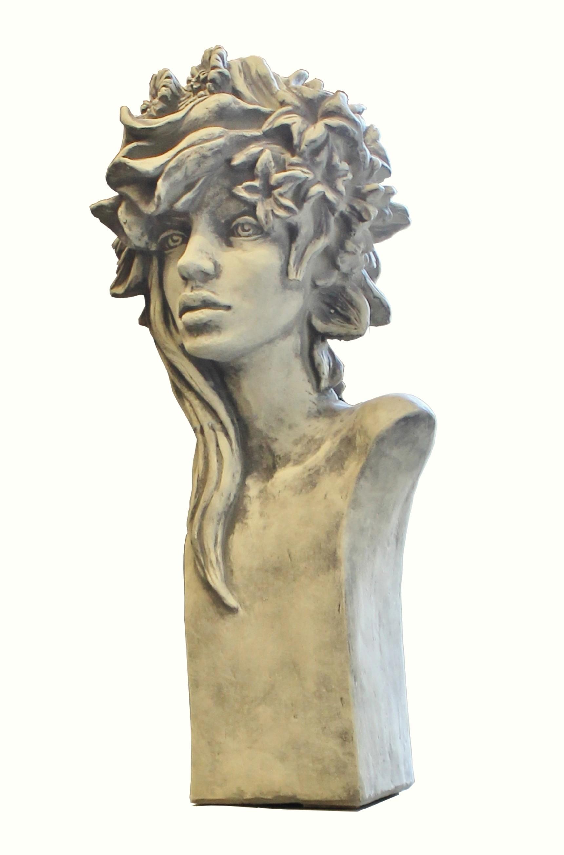 Skulptur Büste Art Deco Rosenmädchen Steinguss