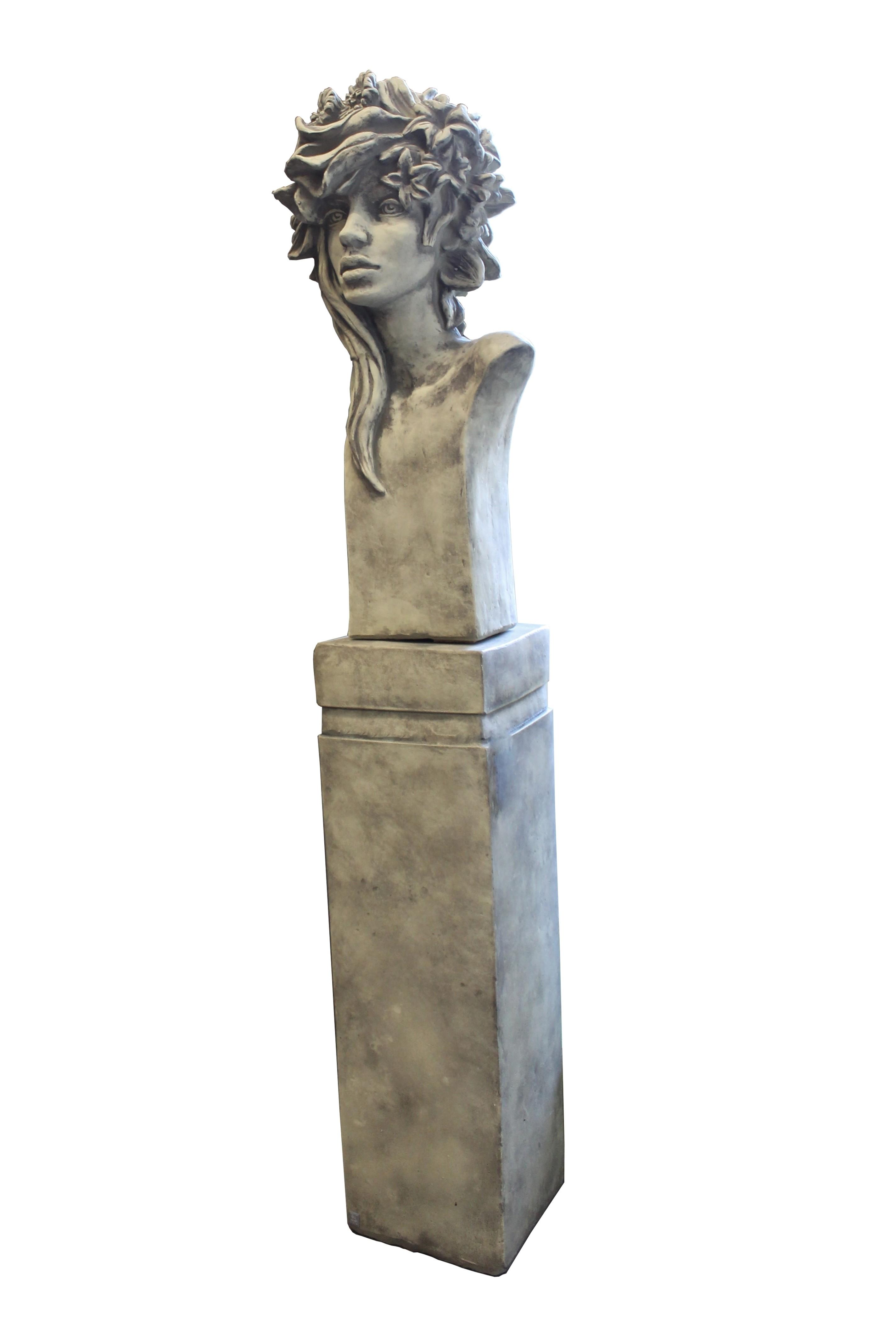 SET Skulptur Büste Art Deco Rosenmädchen + Sockel  Steinguss