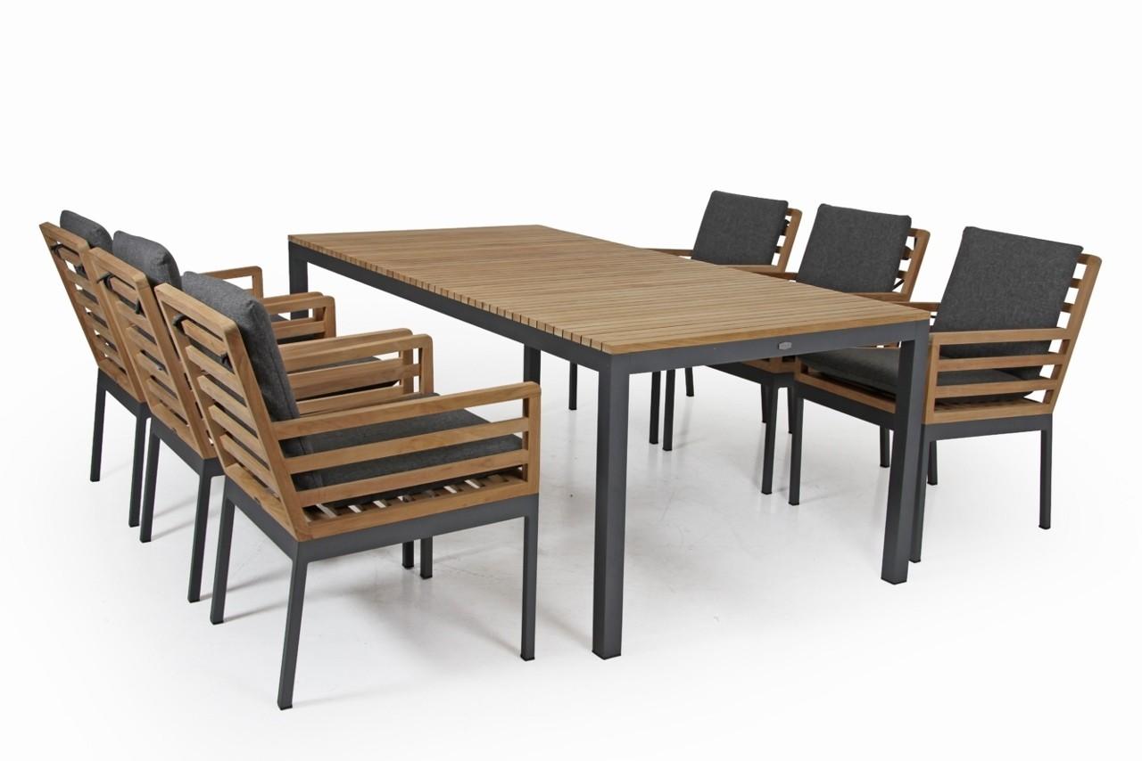 Brafab SET Teak Alu Gartentisch  6x  Polster Gartenstuhl mit Armlehnen Zalongo