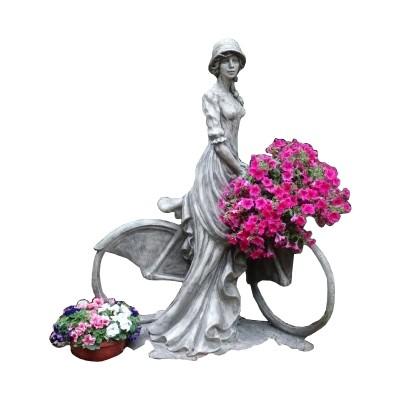 Skulptur Dame mit Fahrrad Steinguss 300Kg