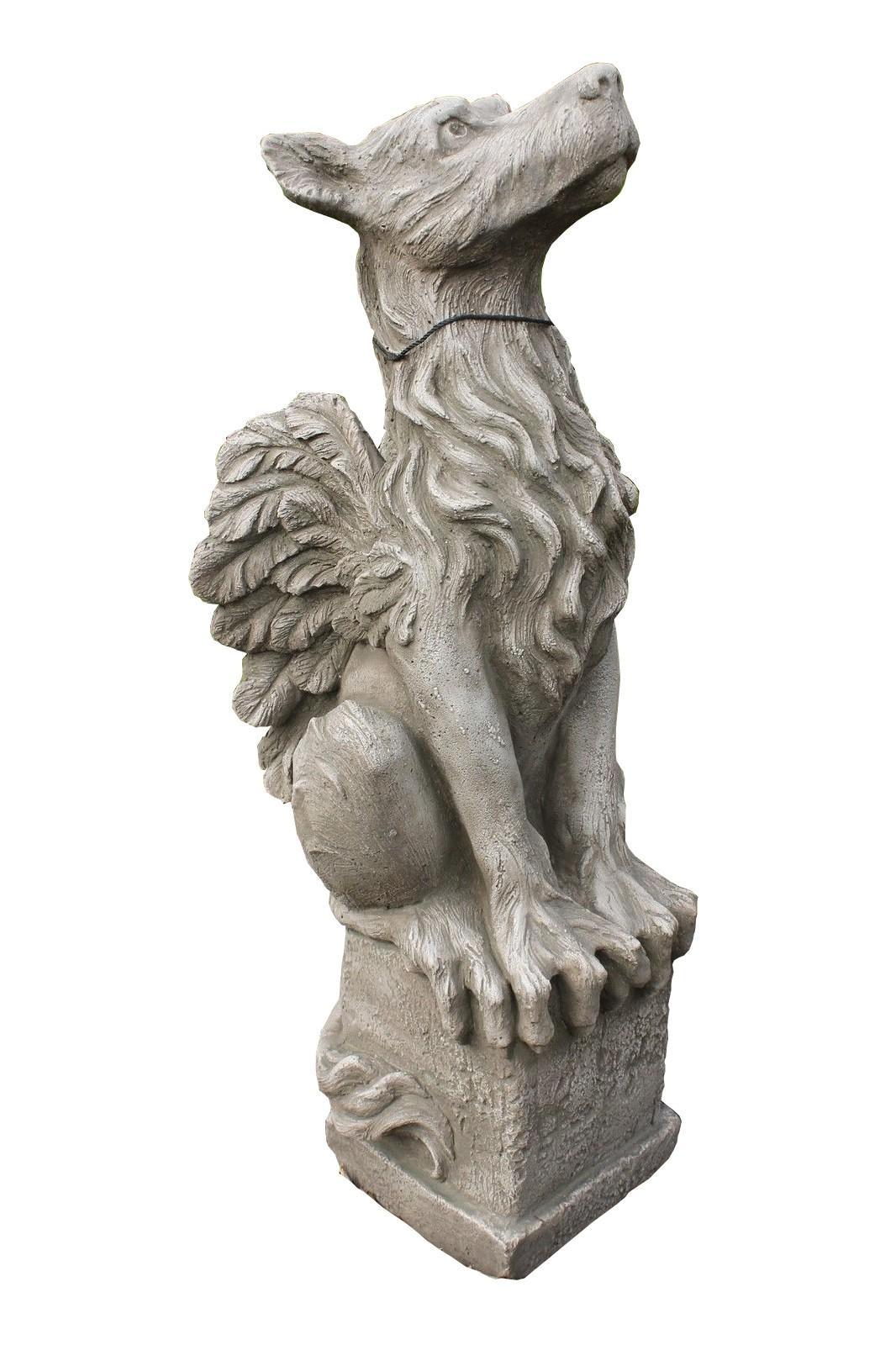 "Skulptur Drache auf Sockel ""Rufus"""
