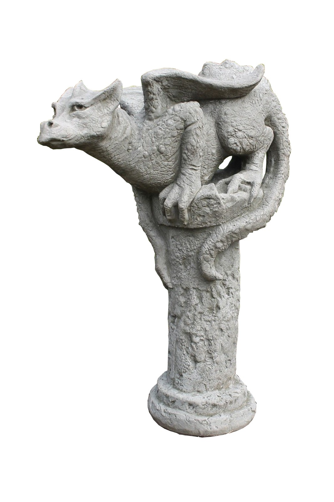 Skulptur Drache auf Säule Theron Gartenfigur