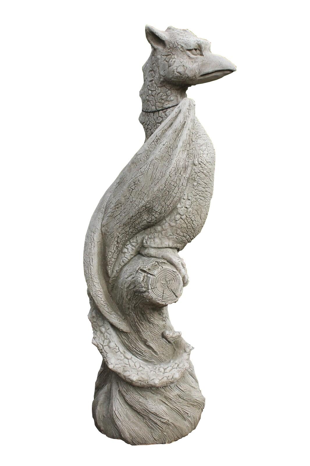 Skulptur Drache auf Ast Wyvern Gartenfigur