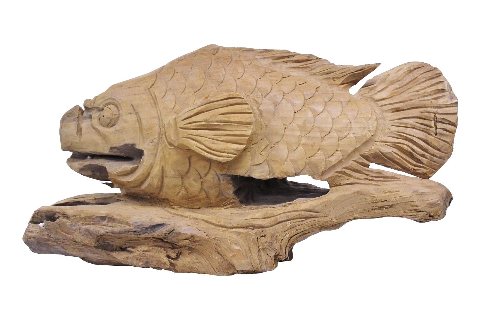 Teak Skulptur Fisch Unikat No15