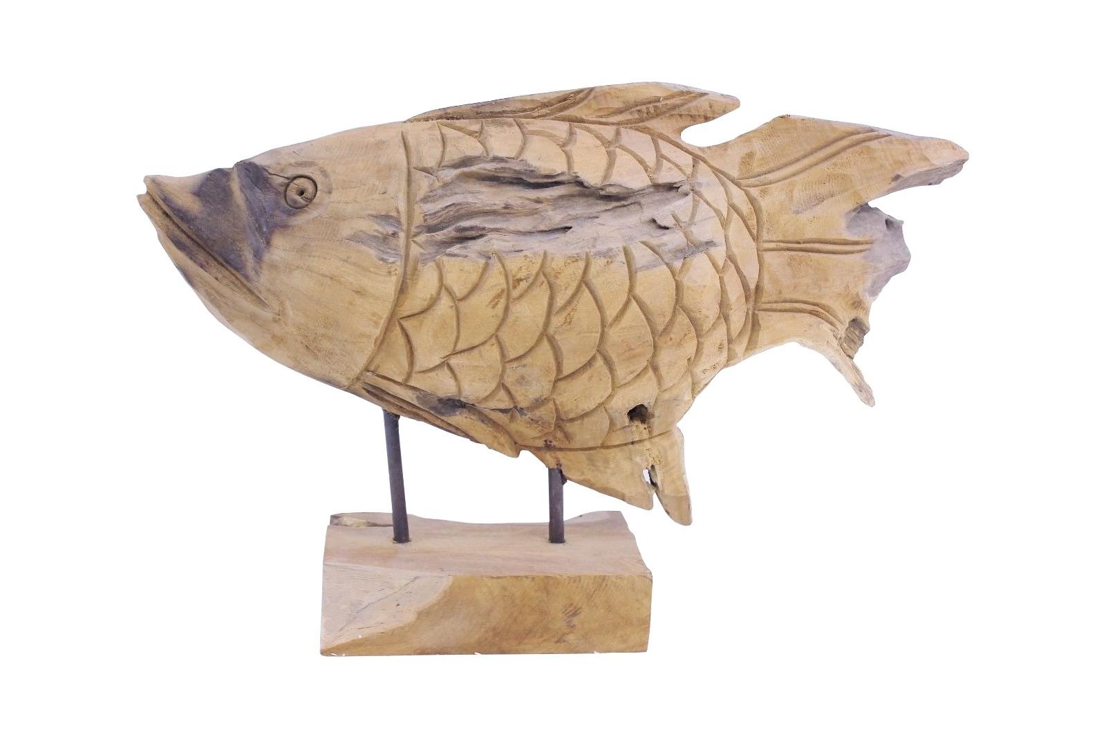 Teak Skulptur Fisch Unikat No9